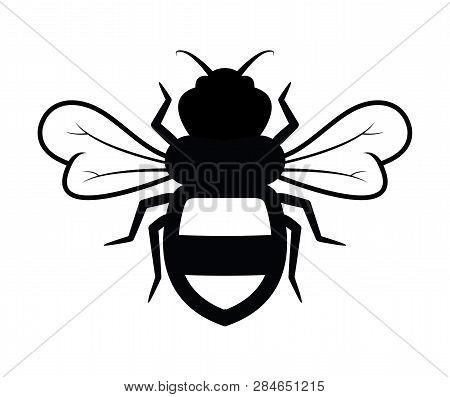 Vector Bee Icon Isolated On White Background.flat Bumblebee Logo  Cartoon. Honey Bee Simple Illustra