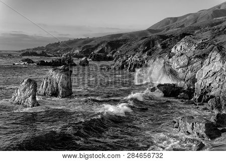 Sea Waves Crash At Garrapata State Park In Black And White