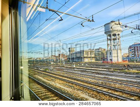 The Railways Catenaries Of Milano Centrale Train Station. Milan, Lombardy, Italy.