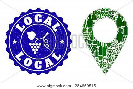 Vector Combination Of Wine Local Place And Grape Grunge Seal Stamp. Local Place Collage Composed Wit