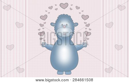 Cute Illustration Design Of Blue Fantasy Animal Creature, With Earts, On Pastel Pink Background