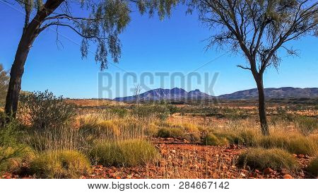 Mount Sonder In The West Macdonnell Ranges Near Alice Springs Framed By Trees