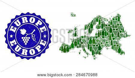 Vector Collage Of Wine Map Of Europe And Grape Grunge Stamp. Map Of Europe Collage Designed With Bot