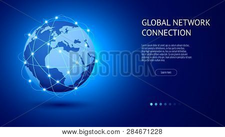 Global Network Connection Concept. Best Internet, Global Business. World Map Point And Line Composit