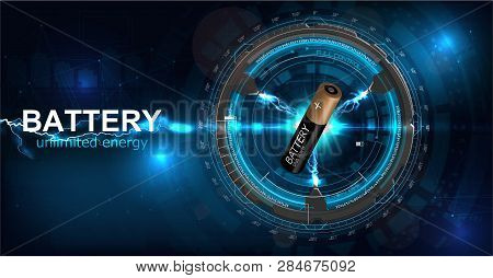 Battery Illustration With Electric Charge, Power Supply Rechargeable Battery Graphic Rendering. Web