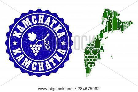 Vector Collage Of Wine Map Of Kamchatka Peninsula And Grape Grunge Seal Stamp. Map Of Kamchatka Peni