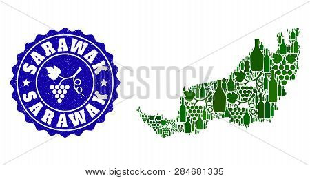 Vector Collage Of Wine Map Of Malaysian Sarawak And Grape Grunge Seal. Map Of Malaysian Sarawak Coll