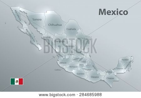 Mexico Map, New Political Detailed Map, Separate Individual States, With State Names, Glass Card 3d