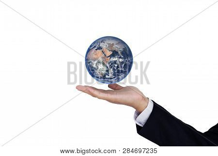 Businessman Hand Holding Globe On Hand, Isolated On White Background. Element Of This Image Are Furn