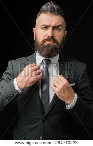 Tailor Shop. Man Suit Fashion. Meeting Suit. Businessman In Dark Grey Suit. Business Confident. Man