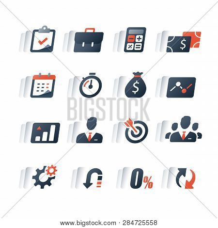 Business Loan, Finance Icon Set, Invest Return, Capital Growth, Company Revenue Report, Performance