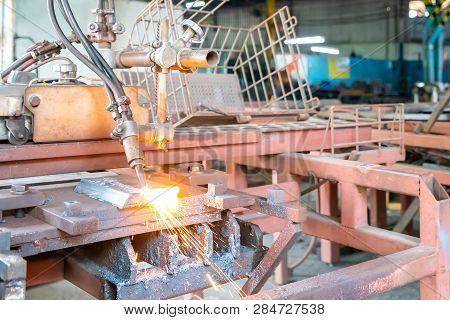 Close Up Torch Or Tip And Flame With Sparkle Form Oxygen And Acetylene Of Gas Cutting Machine For In