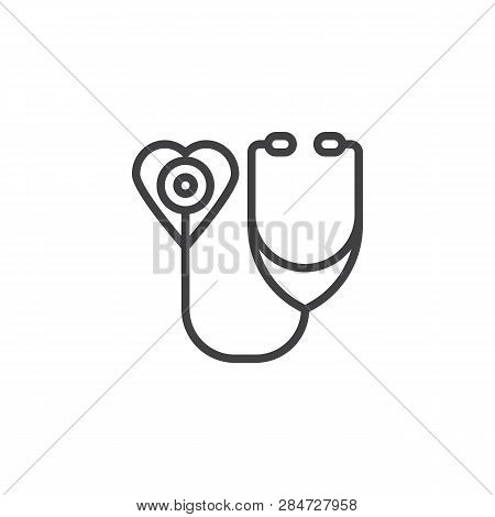 Heart With Stethoscope Line Icon. Linear Style Sign For Mobile Concept And Web Design. Medical Healt