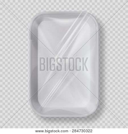 White Empty Plastic Container For Food. Layout Of Food Plastic Container For Meat, Fish And Vegetabl