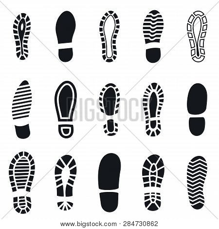 Shoes Footprint Silhouette Black Simple Set. Sneaker Shoes Step, Walking Boot Shoe Steps Imprint And