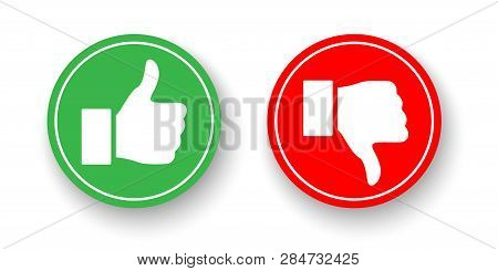 Green And Red Circles With Thumbs Up And Thumbs Down Icons Isolated On White Background. Vector Desi