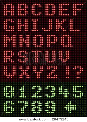 Alphanumeric Alphabet Font LED Display On Black