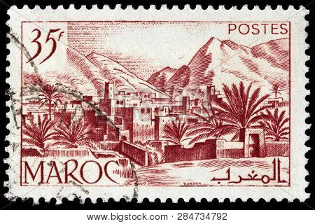Luga, Russia - January 24, 2019: A Stamp Printed By Morocco Shows View Of Todra Valley In The Easter