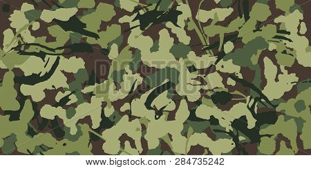 Abstract Grunge Camouflage, Seamless Pattern. Military Camo Texture With Paint Strokes And Splashes