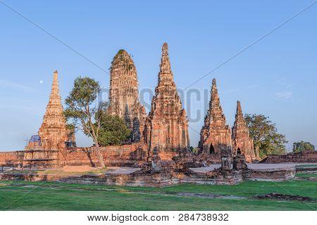 Sunrise Over Buddhist Temple Wat Chaiwatthanaram In Ayuthaya - A Unesco World Heritage Site, The Anc