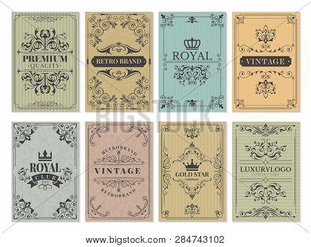 Vintage Cards. Rustic Victorian Retro Old Pattern Ornaments For Frame Design Western Backgrounds Vec