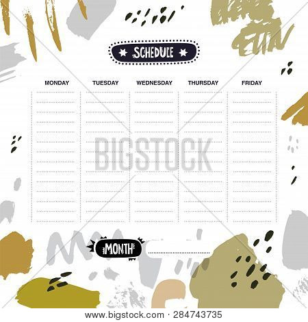 Weekly And Daily Planner Template With Abstract Shapes In A Calligraphic Style. Hand Drawn Vector Il