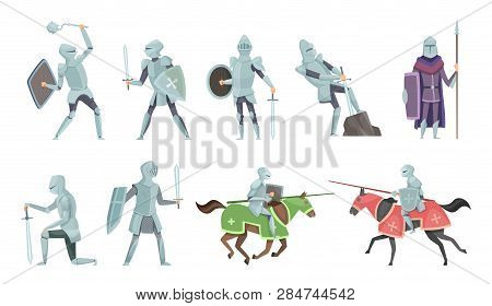 Knight. Chivalry Prince Medieval Fighters Brutal Warriors On Horse Battle Vector Cartoon Illustratio
