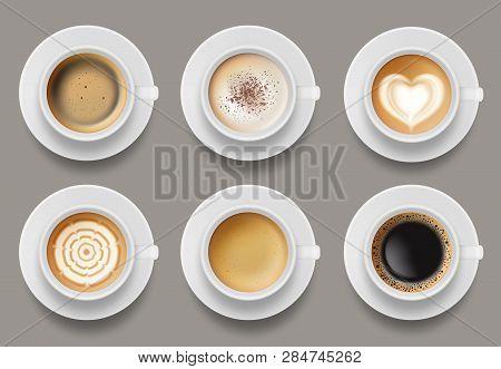 Coffee Mug Top View. Cappuccino Espresso Latte Milk Brown Coffee Vector Realistic Template. Cappucci