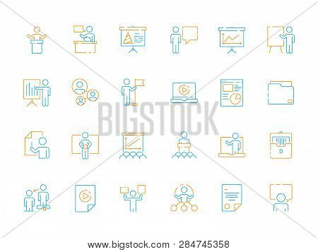 Public Speech Icons. Business Presentation Instructor Classroom Meeting Seminar Conference Vector Co