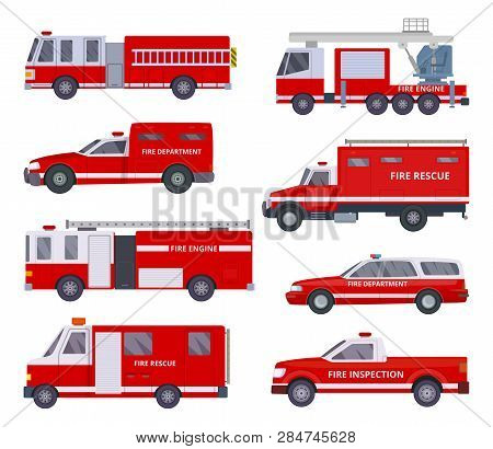 Fire Engine. Collection With Red Emergency Department Lighting Service Van Helicopter Vector Vehicle