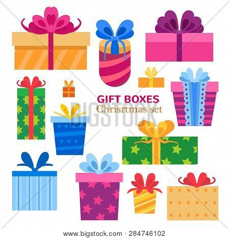 Vector Set Of Different Gift Boxes. Flat Design.