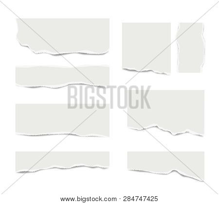 Ripped Paper. Broken White Note Paper For Text Messages Different Shapes Vector Realistic Template.