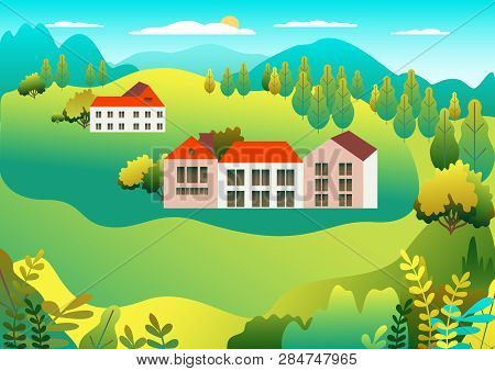 Rural Valley Farm Countryside. Village Landscape With Ranch In Flat Style Design. Landscape With Hou