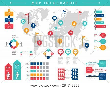 World Infographic. Business Presentation People Population Vector Infographic Template. Illustration