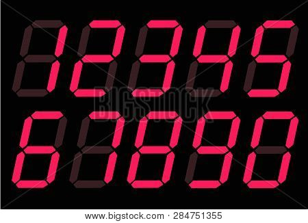 Red Digital Numbers 0 - 9 On White Background. Flat Style. Red Digital Numbers Icon For Your Web Sit