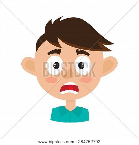 Boy Scared Face Expression, Cartoon Vector Illustrations Isolated On White.