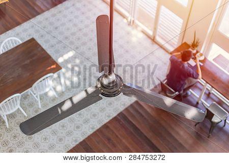 Interior Ceiling Fan Home Decoration In Hot Summer Season