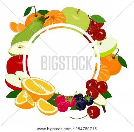 Fruits Background Frame. Assorted Colorful Fruits Arranged In A Circle On The White Background, Copy