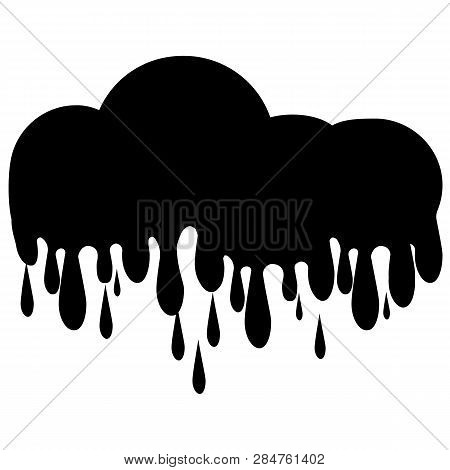 Black Paint Drips. Ink Flow Down. White Background. Vector Illustration.