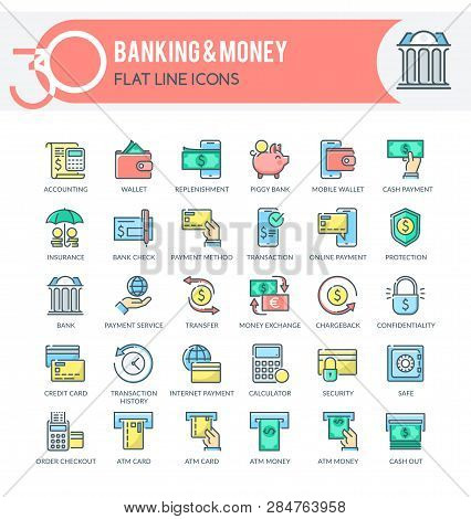 Set Of Filled Outline Multicolor Icons On Following Themes - Finance, Banking, Internet Banking, Mob