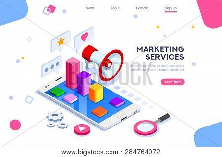 Isometric Concept Of Digital Marketing. 3d Modern Flat Design, Decorated People Characters. Website