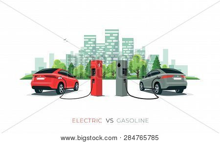 Electric Versus Gasoline Car Suv. Electric Car Charging At Charger Station Vs. Fossil Car Refueling