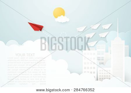 Creative vector illustration Leadership or thinking different concept. Red paper plane and white many paper plane flying on the sky over cityscape and clouds. Think difference and follow your focus. poster