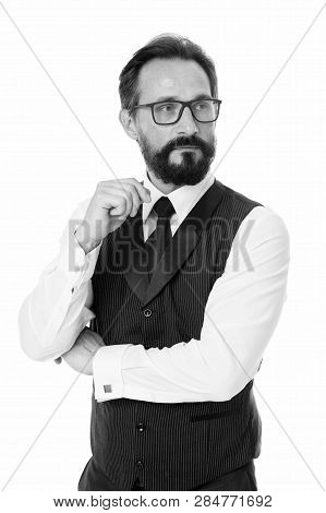 Businessman Thoughtful Face Make Decision. Hard Business Decision. Businessman Formal Suit Mature Ma