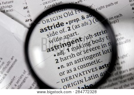 The Word Or Phrase Astringent In A Dictionary Book.