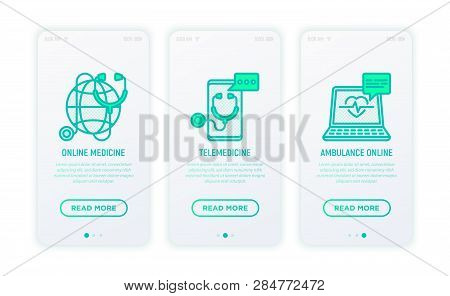 Online Medicine, Telemedicine, Ambulance Thin Line Icons. Modern Vector Illustration For User Mobile