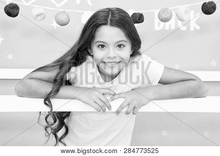 Hair Every Girl Dream. Evening Routine With Long Unruly Hair. Child With Gorgeous Hairstyle Smiling.