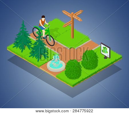 Bicycle Path Concept Banner. Isometric Banner Of Bicycle Path Vector Concept For Web, Giftcard And P