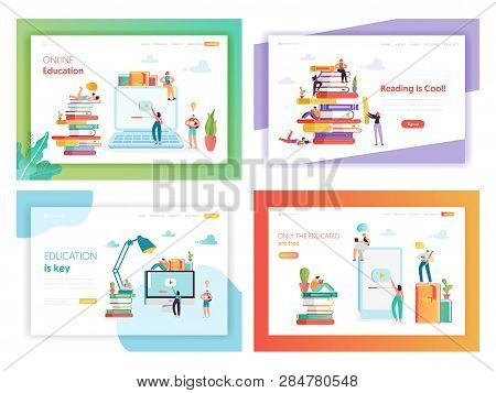 Online Education Concept Landing Page Template Set. Student Character Reading Book. Distance Educati