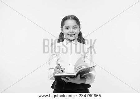 Write Note To Remember. Child School Uniform Smart Kid Happy Make Note. Girl Happy Face Make Note Ab